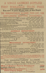 Advert for the Direct Supply Depot, men's clothing store, reverse side